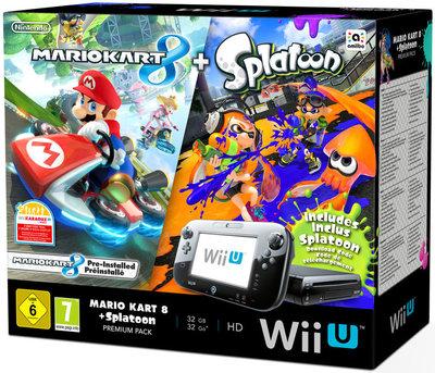 Wii U Console Premium Bundel Zwart + Mario Kart 8 + Splatoon